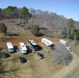 drone view of campground