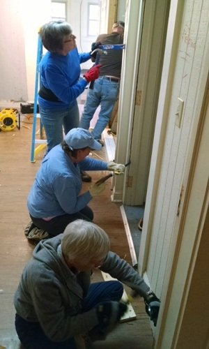 Janet, Sheila and Joyce removing trim
