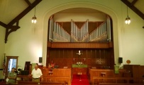 One of the life long members of the church showed us their amazing pipe organ.