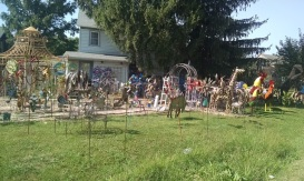Yard art in front of one of the bed and breakfasts in town
