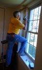 Tom finishing the blinds