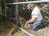 Mike clearing brush from around gate
