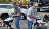 Mark and Mark grilled burgers for the team tonight