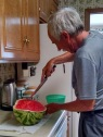 Cutting up the watermelon