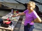 Cooking breakfast outside