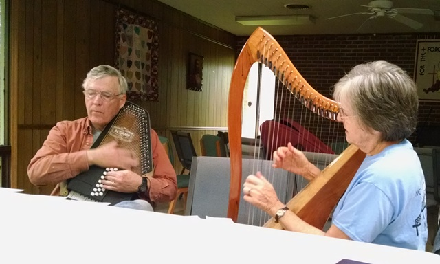 Harry and Janet provided music for our devotion time